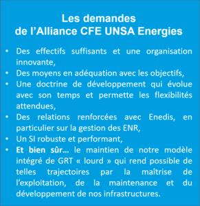 Les demandes de l'Alliance CFE UNSA Energies
